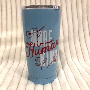 Anthropologie Blue More Human Kind Travel Mug NWT